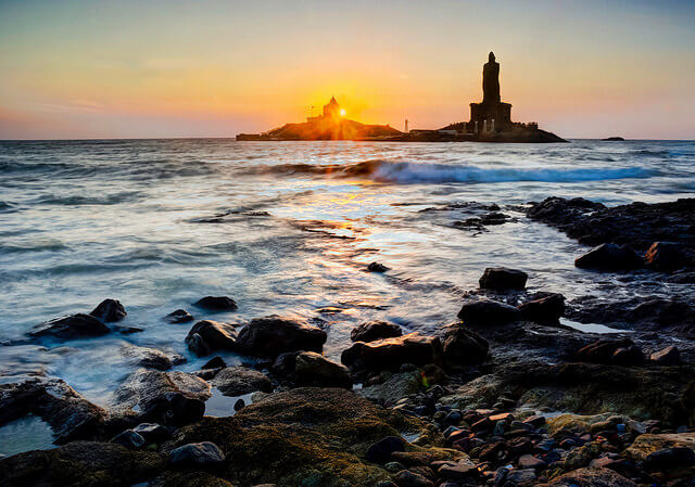 Sunrise in Kanyakumari Beach