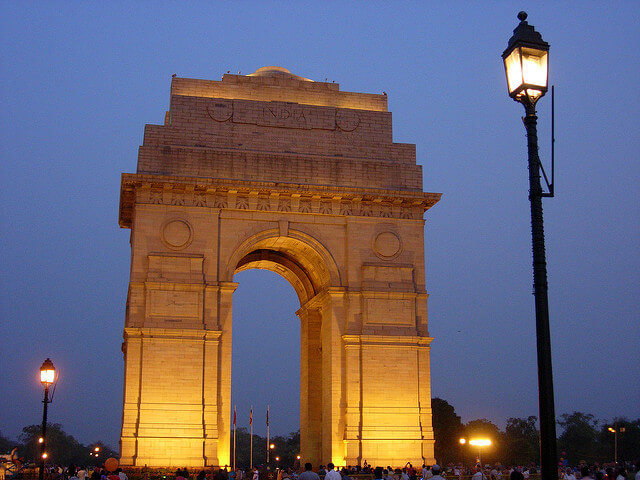 India Gate lit up at night