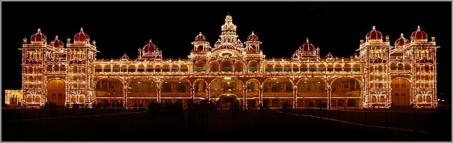 Mysore Palace lit up at night