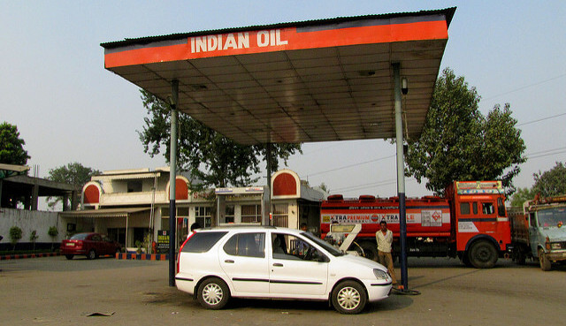 Indian Oil petrol station in India. Photo by Paul Hamilton.