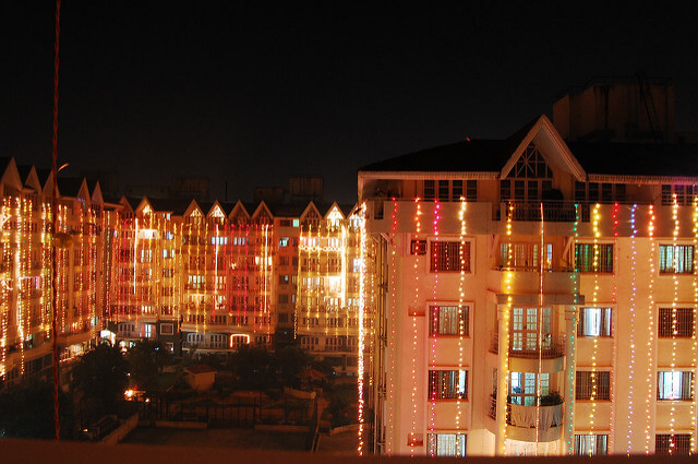 Houses decorated during Diwali