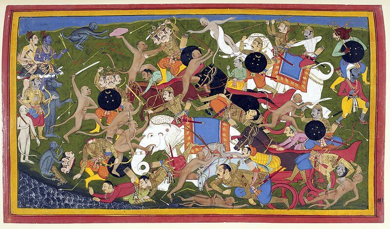 Ramayana war depicted in an old painting
