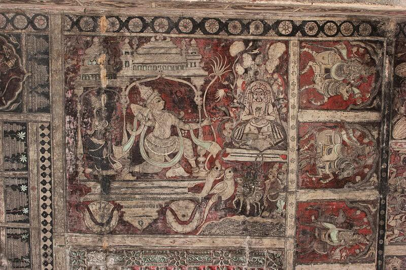 Mythological paintings on the ceilings of temples