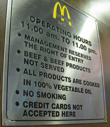 No beef sign at McDonald's, India. Photo by Phil Whitehouse.
