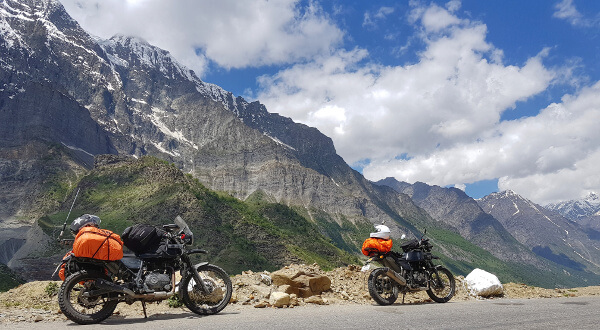 Our rented Royal Enfield Himalayans on the Road in Himachal Pradesh. Photo © Gaurav Malik, all rights reserved.
