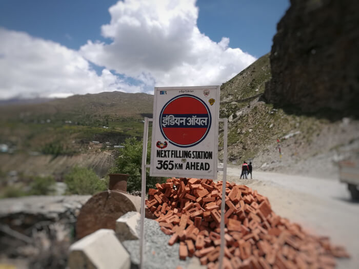 A sign for the last petrol station before Leh. Photo © Karl Rock, all rights reserved.