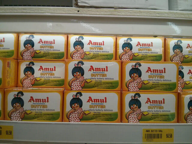Amul Butter packs in shop