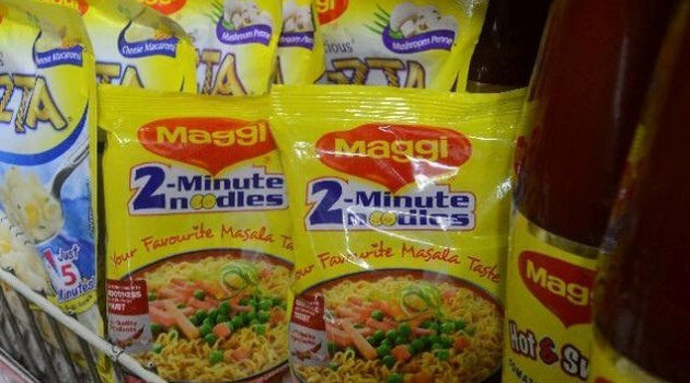 Maggi noodles beside Maggi ketchup and instant pasta