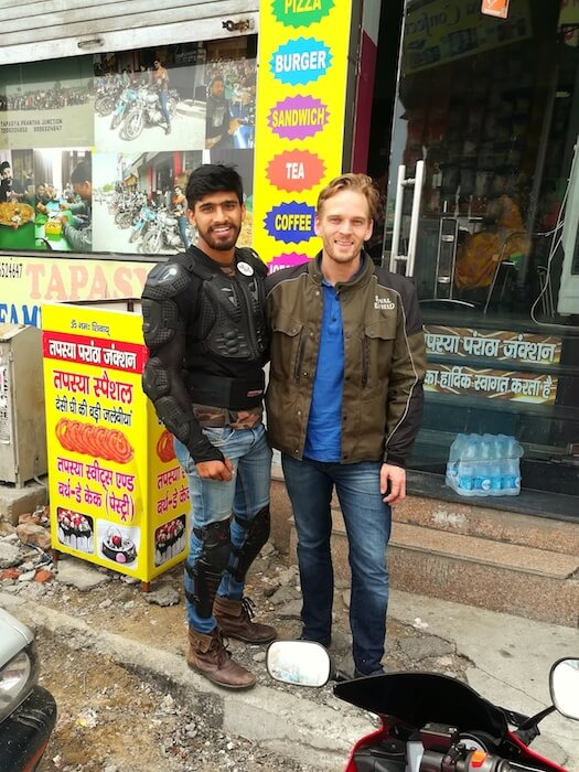 Prince & I outside Tapasya Paratha Junction Restaurant. Photo © Karl Rock.