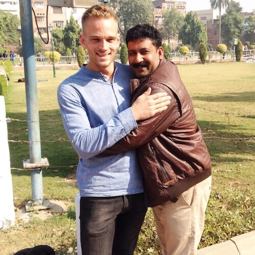 Selfie with a man in a park in Amritsar. Photo © Karl Rock.