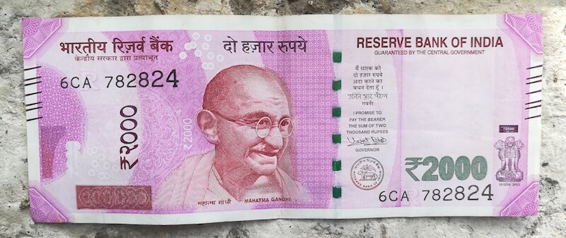 Front of real 2000 rupee note. Photo © Karl Rock.