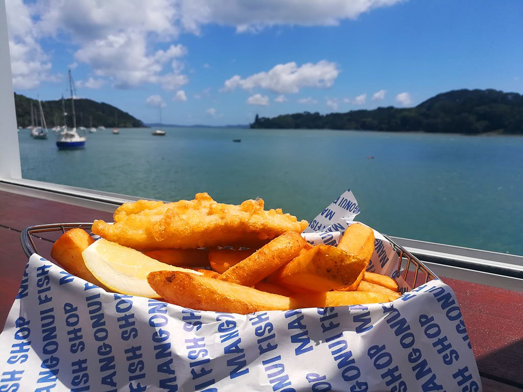 Blue Nose and Chips at the Mangonui Fish Shop. Photo © Karl Rock.