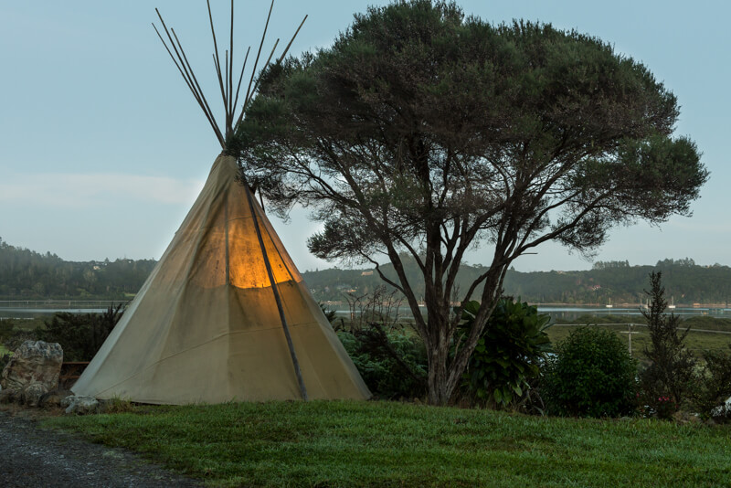 Tipi accommodation at Orongo Holiday Park.