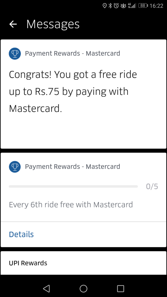Uber Mastercard Promo: every 6th ride free. Not in my case!