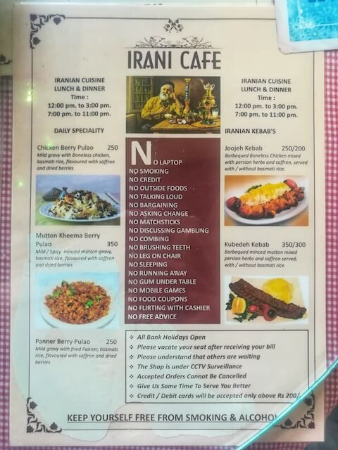Irani Cafe Pune Menu 2. Photo © Karl Rock.